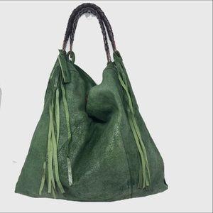 Tano Metallic green leather Fringe shoulder bag